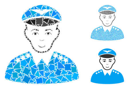 Military pilot officer mosaic of unequal elements in various sizes and color hues, based on military pilot officer icon. Vector unequal elements are organized into illustration.