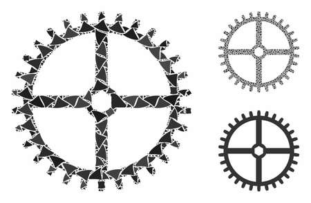 Clock gear composition of raggy items in variable sizes and shades, based on clock gear icon. Vector tremulant items are combined into composition. Clock gear icons collage with dotted pattern.