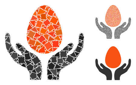 Egg incubator hands mosaic of tuberous elements in various sizes and color hues, based on egg incubator hands icon. Vector tuberous dots are united into mosaic.