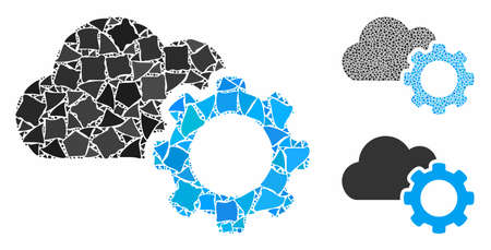 Cloud options gear mosaic of tremulant elements in various sizes and color hues, based on cloud options gear icon. Vector inequal elements are grouped into collage.