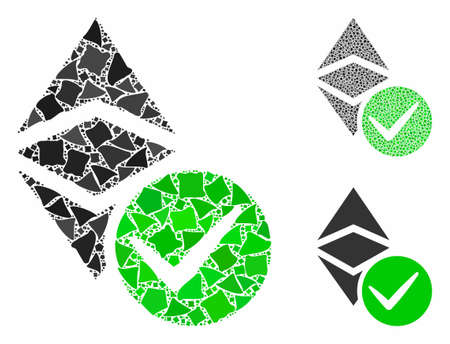 Valid Ethereum classic composition of abrupt items in different sizes and color tinges, based on valid Ethereum classic icon. Vector rough items are organized into composition.