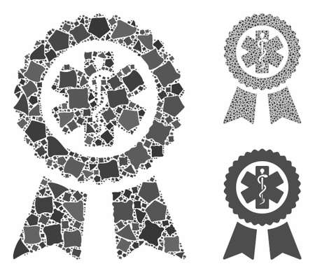 Achievement medical seal composition of joggly parts in various sizes and color tints, based on achievement medical seal icon. Vector irregular parts are united into composition.