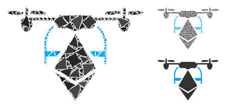 Ethereum drone mosaic of rough elements in variable sizes and color hues, based on Ethereum drone icon. Vector humpy elements are composed into mosaic.