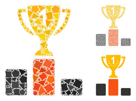First place cup composition of tremulant elements in different sizes and shades, based on first place cup icon. Vector uneven elements are combined into collage. Ilustrace