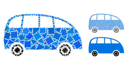 Minibus mosaic of irregular parts in variable sizes and color tones, based on minibus icon. Vector humpy parts are composed into mosaic. Minibus icons collage with dotted pattern.