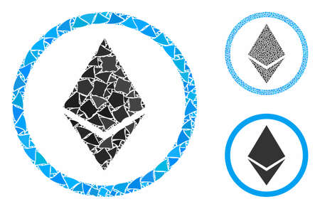 Ethereum rounded composition of trembly elements in various sizes and color tints, based on Ethereum rounded icon. Vector bumpy dots are composed into composition.
