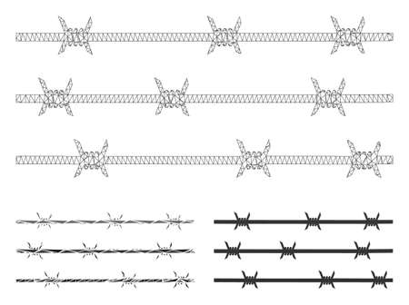 Mesh barbwire fence model with triangle mosaic icon. Wire frame triangular mesh of barbwire fence. Vector collage of triangle parts in various sizes, and color hues. Abstract flat mesh barbwire fence, 일러스트