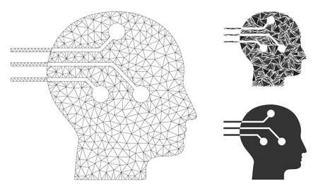 Mesh brain interface model with triangle mosaic icon. Wire carcass polygonal mesh of brain interface. Vector mosaic of triangle elements in various sizes, and color tints.