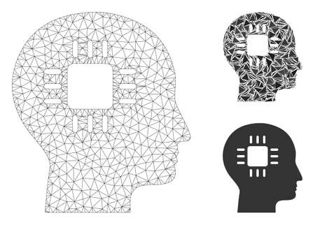 Mesh brain processor model with triangle mosaic icon. Wire carcass triangular network of brain processor. Vector mosaic of triangle parts in various sizes, and color tones.