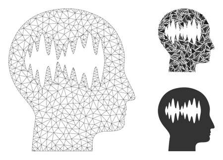 Mesh brain waves model with triangle mosaic icon. Wire carcass polygonal mesh of brain waves. Vector mosaic of triangle parts in variable sizes, and color tints. Abstract flat mesh brain waves,