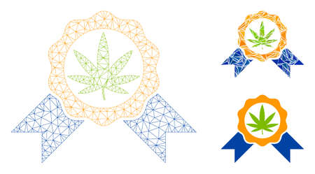 Mesh cannabis legalize model with triangle mosaic icon. Wire carcass polygonal mesh of cannabis legalize. Vector composition of triangle elements in variable sizes, and color tinges.