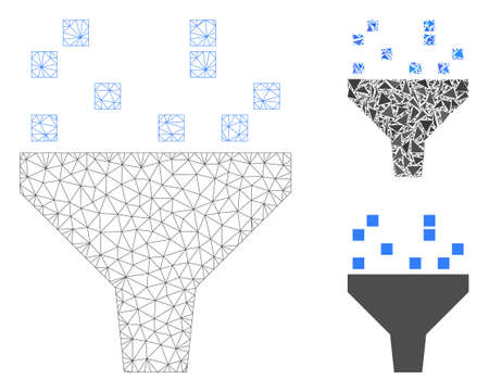 Mesh data filter model with triangle mosaic icon. Wire frame triangular mesh of data filter. Vector mosaic of triangle parts in various sizes, and color tints. Abstract flat mesh data filter,