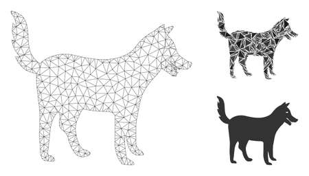Mesh dog model with triangle mosaic icon. Wire carcass triangular mesh of dog. Vector mosaic of triangle elements in various sizes, and color tones. Abstract 2d mesh dog, created from triangular grid. Illustration