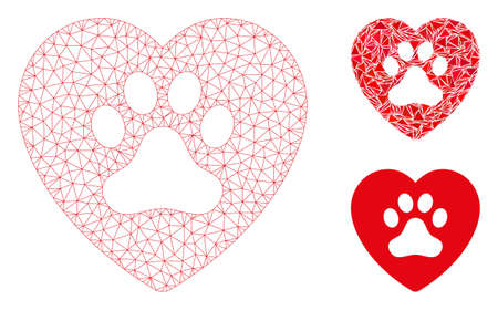 Mesh dog love heart model with triangle mosaic icon. Wire frame triangular mesh of dog love heart. Vector mosaic of triangle elements in various sizes, and color tints.