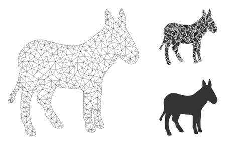 Mesh donkey model with triangle mosaic icon. Wire carcass polygonal mesh of donkey. Vector composition of triangle parts in variable sizes, and color hues. Abstract 2d mesh donkey, Foto de archivo - 133687738