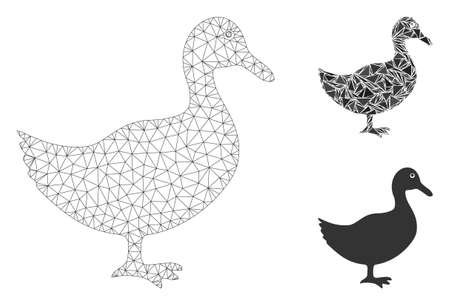 Mesh duck model with triangle mosaic icon. Wire frame polygonal mesh of duck. Vector mosaic of triangle parts in various sizes, and color tones. Abstract flat mesh duck, created from triangles.