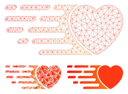 Mesh express love heart model with triangle mosaic icon. Wire frame triangular mesh of express love heart. Vector mosaic of triangle elements in various sizes, and color shades.