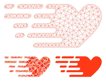 Mesh fast love model with triangle mosaic icon. Wire carcass triangular mesh of fast love. Vector mosaic of triangles in various sizes, and color shades. Abstract 2d mesh fast love,