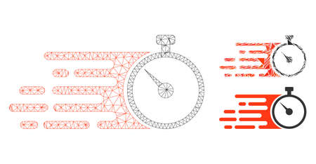 Mesh fast stopwatch model with triangle mosaic icon. Wire frame polygonal mesh of fast stopwatch. Vector mosaic of triangle parts in different sizes, and color tinges. 向量圖像