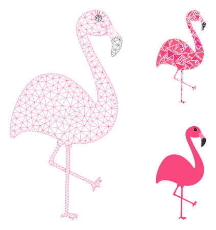 Mesh flamingo model with triangle mosaic icon. Wire carcass polygonal mesh of flamingo. Vector composition of triangle elements in different sizes, and color tinges. Abstract 2d mesh flamingo,