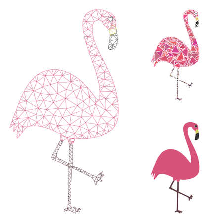 Mesh flamingo bird model with triangle mosaic icon. Wire carcass polygonal mesh of flamingo bird. Vector mosaic of triangles in different sizes, and color shades. Abstract flat mesh flamingo bird, Illustration