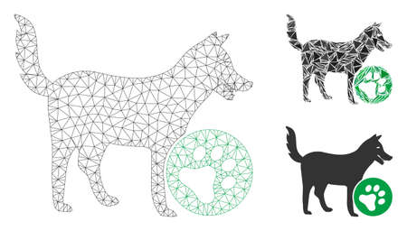 Mesh for dogs model with triangle mosaic icon. Wire frame polygonal mesh of for dogs. Vector mosaic of triangles in various sizes, and color tones. Abstract 2d mesh for dogs, designed with triangles.
