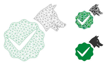 Mesh for dogs only model with triangle mosaic icon. Wire carcass triangular mesh of for dogs only. Vector mosaic of triangles in variable sizes, and color tinges. Abstract flat mesh for dogs only,