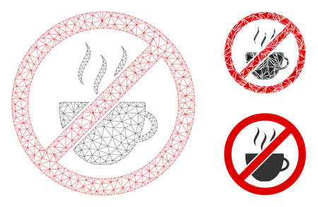 Mesh forbidden coffee model with triangle mosaic icon. Wire frame polygonal mesh of forbidden coffee. Vector composition of triangle elements in various sizes, and color tints.