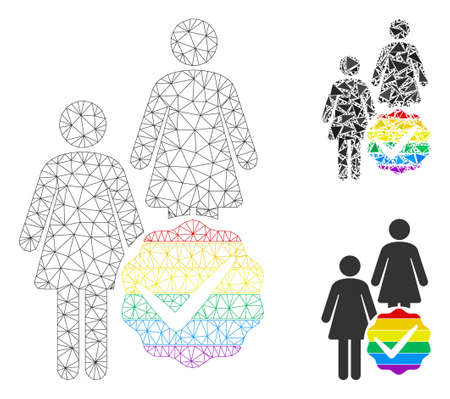 Mesh for lesbians model with triangle mosaic icon. Wire carcass triangular mesh of for lesbians. Vector mosaic of triangle parts in various sizes, and color shades. Abstract flat mesh for lesbians,