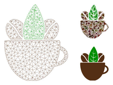 Mesh fresh coffee cup model with triangle mosaic icon. Wire frame triangular mesh of fresh coffee cup. Vector composition of triangle parts in different sizes, and color tones.