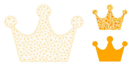 Mesh gold crown model with triangle mosaic icon. Wire frame triangular network of gold crown. Vector collage of triangle elements in different sizes, and color shades. Abstract flat mesh gold crown, Ilustrace