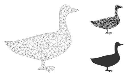 Mesh goose model with triangle mosaic icon. Wire frame polygonal network of goose. Vector mosaic of triangle elements in various sizes, and color shades. Abstract flat mesh goose,