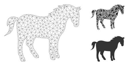 Mesh horse model with triangle mosaic icon. Wire carcass polygonal mesh of horse. Vector mosaic of triangles in different sizes, and color tints. Abstract 2d mesh horse, built from triangles. Foto de archivo - 133688554