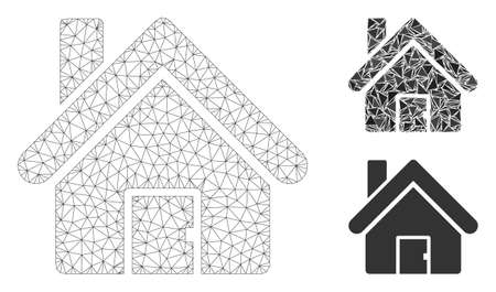 Mesh house model with triangle mosaic icon. Wire frame polygonal mesh of house. Vector collage of triangle parts in various sizes, and color hues. Abstract flat mesh house,