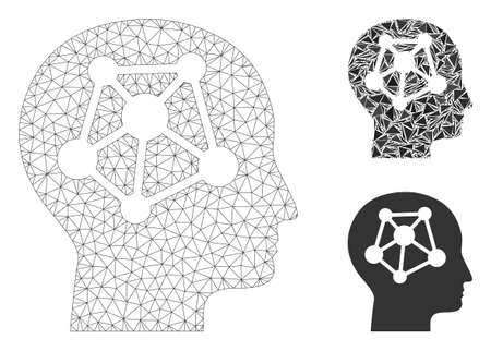Mesh human neural network model with triangle mosaic icon. Wire frame polygonal network of human neural network. Vector mosaic of triangle parts in variable sizes, and color hues. Ilustrace