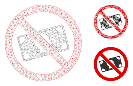 Mesh no banknotes model with triangle mosaic icon. Wire carcass triangular mesh of no banknotes. Vector mosaic of triangle parts in different sizes, and color tones. Abstract 2d mesh no banknotes,