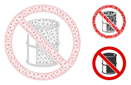 Mesh no barrel model with triangle mosaic icon. Wire frame triangular mesh of no barrel. Vector composition of triangle parts in various sizes, and color tones. Abstract flat mesh no barrel,