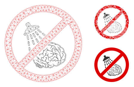 Mesh no brain washing model with triangle mosaic icon. Wire frame triangular mesh of no brain washing. Vector mosaic of triangle parts in different sizes, and color hues.