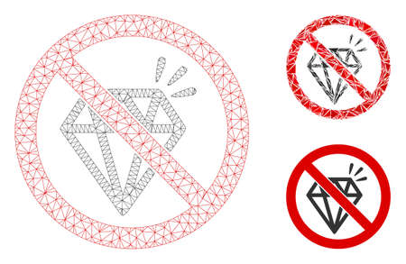 Mesh no brilliant model with triangle mosaic icon. Wire frame triangular mesh of no brilliant. Vector composition of triangles in variable sizes, and color tints. Abstract 2d mesh no brilliant,