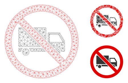 Mesh no cargo delivery model with triangle mosaic icon. Wire frame polygonal mesh of no cargo delivery. Vector mosaic of triangle parts in different sizes, and color tinges.