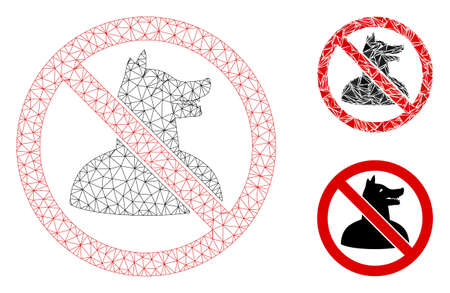 Mesh no dog man model with triangle mosaic icon. Wire carcass triangular mesh of no dog man. Vector collage of triangle parts in different sizes, and color tinges. Abstract 2d mesh no dog man, Illustration