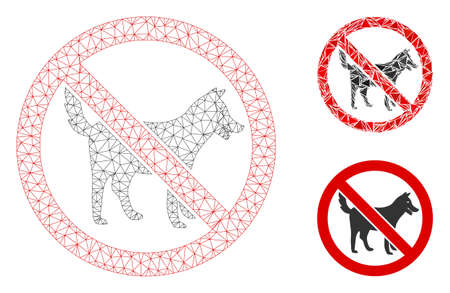 Mesh no dogs model with triangle mosaic icon. Wire carcass polygonal mesh of no dogs. Vector mosaic of triangle elements in various sizes, and color tinges. Abstract flat mesh no dogs,