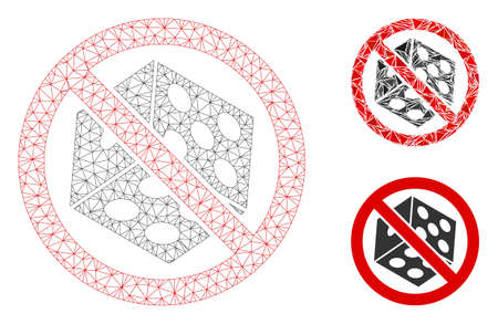 Mesh no dice gambling model with triangle mosaic icon. Wire frame polygonal mesh of no dice gambling. Vector mosaic of triangle parts in various sizes, and color shades. Foto de archivo - 133717255