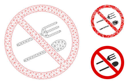 Mesh no eating model with triangle mosaic icon. Wire frame polygonal mesh of no eating. Vector composition of triangle parts in various sizes, and color tinges. Abstract 2d mesh no eating, Illustration