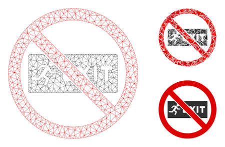 Mesh no exit model with triangle mosaic icon. Wire frame triangular mesh of no exit. Vector mosaic of triangle elements in various sizes, and color tints. Abstract 2d mesh no exit, Stock Illustratie