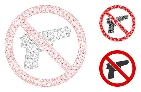 Mesh no guns model with triangle mosaic icon. Wire frame triangular mesh of no guns. Vector mosaic of triangle parts in various sizes, and color tints. Abstract flat mesh no guns,