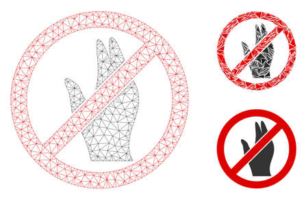 Mesh no manage hand model with triangle mosaic icon. Wire frame triangular network of no manage hand. Vector mosaic of triangles in different sizes, and color tones. Abstract flat mesh no manage hand,