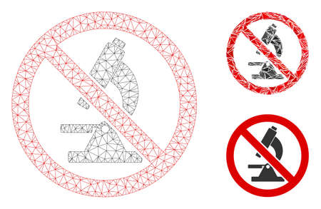 Mesh no microscope model with triangle mosaic icon. Wire carcass triangular mesh of no microscope. Vector mosaic of triangle parts in various sizes, and color tints. Abstract flat mesh no microscope,