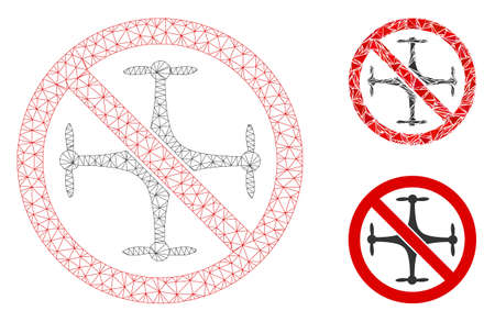 Mesh no quadcopter model with triangle mosaic icon. Wire carcass polygonal mesh of no quadcopter. Vector mosaic of triangle elements in variable sizes, and color shades.