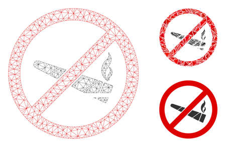 Mesh no smoking cannabis model with triangle mosaic icon. Wire frame polygonal mesh of no smoking cannabis. Vector composition of triangle elements in variable sizes, and color tints.